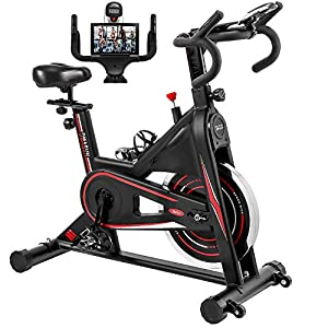 Exercise Bike, DMASUN Indoor Cycling Bike Stationary, Comfortable Seat Cushion, Multi – grips Handlebar, Heavy Flywheel Upgraded Version (Black)