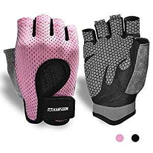 KANSOON Breathable Workout Gloves, Knuckle Weight Lifting Fingerless Gym Exercise Gloves with Curved Open Back, for Powerlifting, Crossfit, Women and Men