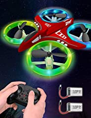 Dwi Dowellin Mini Drone for Kids Crash Proof LED Night Lights One Key Take Off Landing Flips RC Remote Control