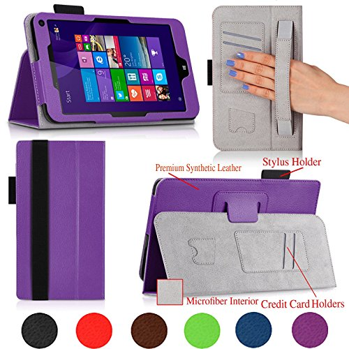 Hewlett Packard Print Smart (For HP Stream 8 Tablet 8-inch Premium QUALITY PU LEATHER FOLIO PROTECTIVE SMART CASE, COVER, STAND with MICROFIBER INNER, STYLUS SLOT, Hand Strap and Credit Cards / ID Holders! PURPLE.)