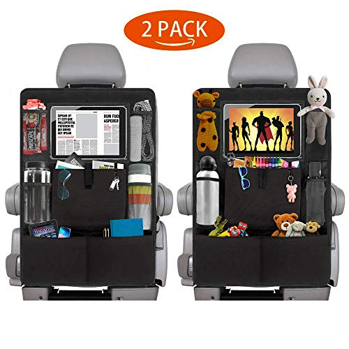 Backseat Car Organizer Kick Mats, 2 Pack Car Seat Back Protectors with Clear Tablet Holder, 8 Storage Pockets Back seat Organizer for Kids Toy Bottle Drink Vehicles Travel Accessories