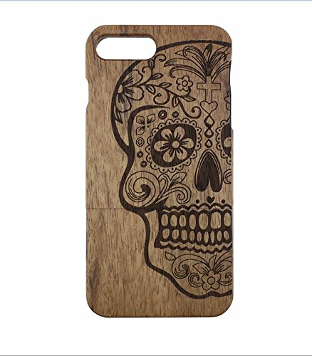 Skull and crossbones-Special process to carve out patterns on the Wood .Real Handmade Natural Wood ,Wooden Case For iPhone 7Plus(5.5 inch).(not fit ip…