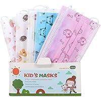 Raganet, 100 Cubrebocas Tricapa para Niños y Niñas de 4 a 14 años, Multi Colores y Diseños Divertidos (100 Pack)