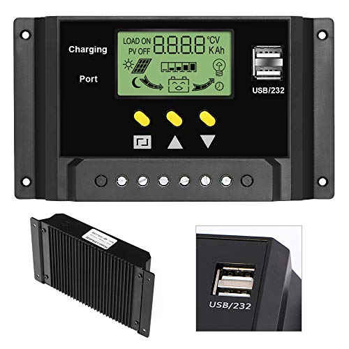 Battery Charging Controller - ALLPOWERS 30A Solar Charger Controller 12V/24V Solar Panel Battery Intelligent Regulator with Dual USB Ports, LCD Display