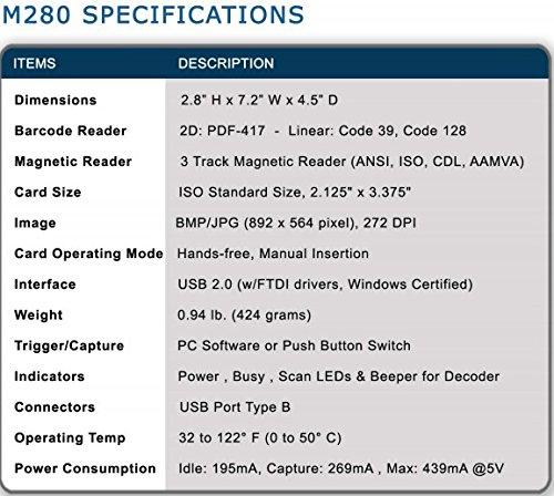 E-Seek M280 ID Reader - USB Flatbed Scanner & 2D Barcode Reader For