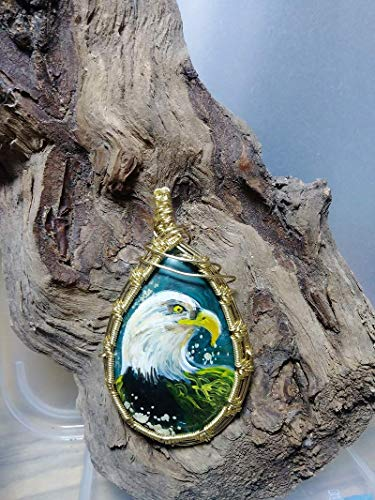 Wire Wrapped Ghost Eye Jasper, Hand Painted Eagle, Natural Gemstone Necklace, Polished Brass Wire, Boho, Woven, Healing, Men Women Gift,