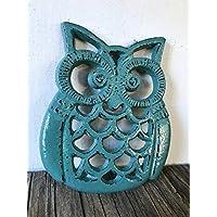 Vintage Teal Heavy Duty Cast Iron Owl Kitchen Trivet - Rustic Woodland Animal Decor - Unique Housewarming Gift