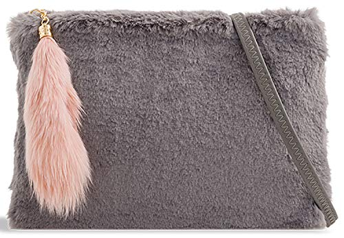 Grey Handbag Bag Designer Faux Clutch Fur Evening Ladies Tail Leather 8zqH8U