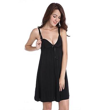 e178fc4e4fc82 RTWAY Nursing Dress For Women Sexy V Neck Cami Nightgown Maternity  Breastfeeding Sleepwear - Black -: Amazon.co.uk: Clothing
