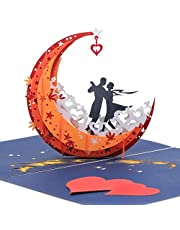 NLR 3D Pop-up Greeting Card # Lovers Dance on Moon Boat | Best for Anniversary, Valentine's Day, Birthday, Wedding Ceremony...