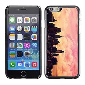 FlareStar Colour Printing City Skyline Pink Yellow Nyc Sunset cáscara Funda Case Caso de plástico para Apple (4.7 inches!!!) iPhone 6