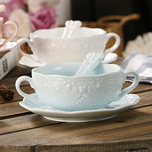 NDHT Elegant Cute Breakfast Cup Dessert Bowls Soup Mug with Saucer and Spoon,300ml,Light Blue