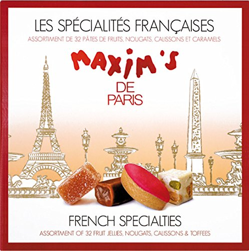 Maxim's de Paris Gourmet Candies Assortment: Calissons, Fruit Pastes, Caramels & Nougat, 32 pieces 6.9oz