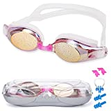 SIXBOX Swim Goggles leak free anti UV lens adjustable shoulder strap Triathlon Swimming Goggles Anti fog nose clip, Ear adult male, Female, Kids,Youth(Pink)