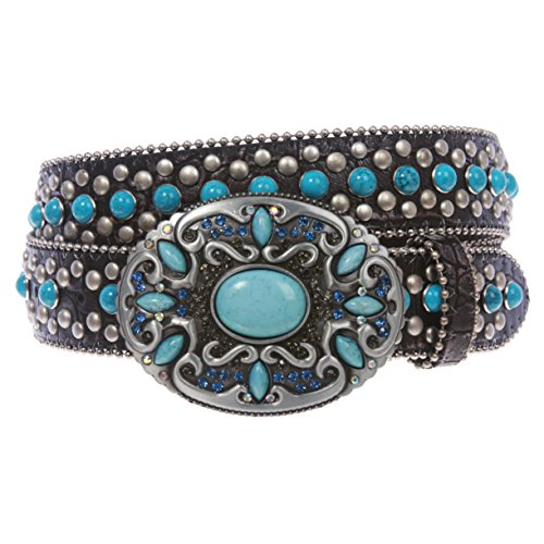 Western Turquoise Rhinestone Studded Croco Print Genuine Leather Belt, Pewter | m/l 36''- 39''