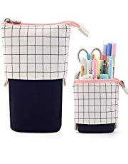 JFTOU Telescopic Pencil Case Stand Up Pen Bag Grid Pencil Holder Canvas Stationery Pouch Cosmetic Bags With 7.5x4.9x3.0inch/4.1x3.0inch(Black and White Grid)