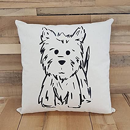 Canvas Westie Pillow Dog Gift Dog Lover Gift Dog Lover Throw Unique Decorative Pillows Dogs
