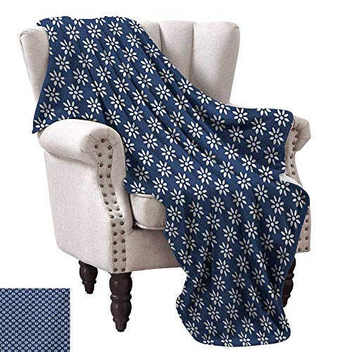 Greek Afghan Throw Blanket - WinfreyDecor Indigo Home Throw Blanket Ancient Greek House Tile Inspired Image Spring Daisy Like Floral Details Sofa Chair 54