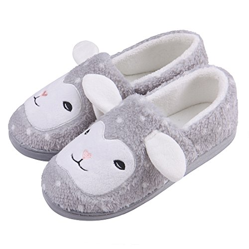 ChicNChic Women Comfortable Fuzzy Plush Indoor Slippers Cute Animal Non Slip House Shoes Grey