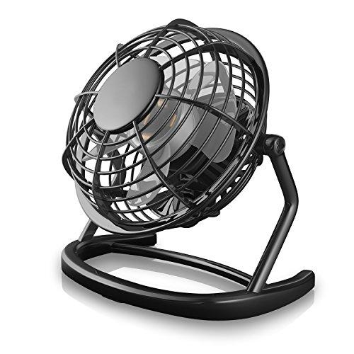CSL - USB Ventilator | Tischventilator / Fan / Lüfter | optimal für den Schreibtisch inkl. An/Aus-Schalter | PC / MAC / Notebook | in schwarz