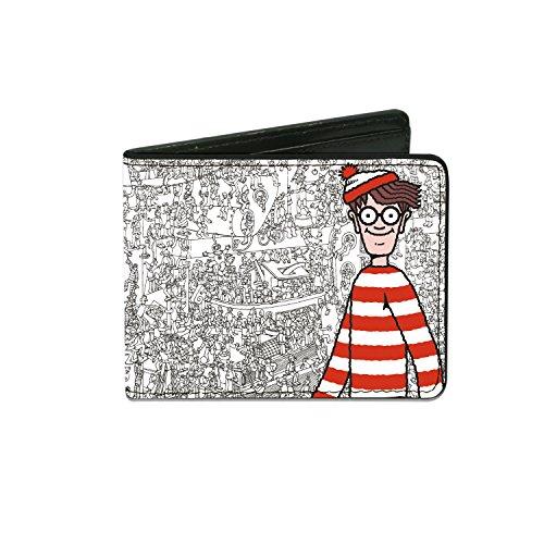 Waldo Wizard Costume (Buckle-Down Men's Wallet Waldo Pose/where's Waldo Toys Toys Toys White/black/f Accessory, -Multi-Colored, One Size)