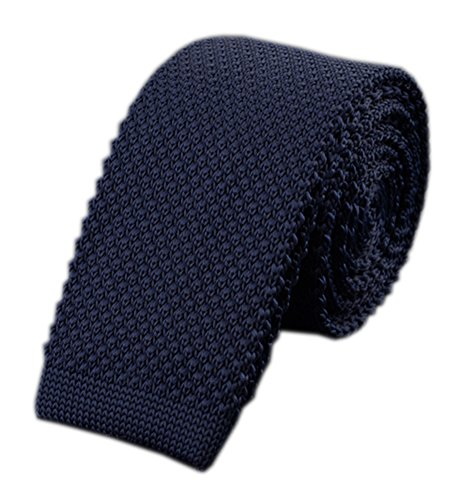 Slim Navy Blue Silk Knitting Tie Border Pattern Business Necktie for Men or Boys ()