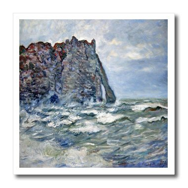 1883 Rough (3dRose FabPeople - Claude Monet Portraits - Port d Aval, Rough Sea, Claude Monet Painting 1883, PD-US - 6x6 Iron on Heat Transfer for White Material (ht_179239_2))