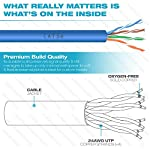 Mediabridge Cat5e Ethernet Cable (500 Feet, Blue) - w/Convenient Pull-Out Box - UL Listed cm Rated for in-Wall Use (Part# C5-500-BLUE) 10 Connects a computer to a printer, router, switch box or other network component in a wired Local Area Network (LAN). Share server files, use a network printer, stream audio or videos, link computers through a network switch and more, at data transmission speeds of up to 1000 Mbps (1 Gbps). Ideal for wired home or office use, this 24 AWG cable meets stricter TIA/EIA standards than conventional Category 5 cables, and can even handle bandwidth-intensive requirements. Compatible with 10/100 Base-T networks and feature enhanced 350 MHz bandwidth for distributing data, voice, and video at high-speeds. Pair with RJ45 connectors for professional custom installations. 24AWG durable build preserves signal quality & still manages to take up only minimal wall space.