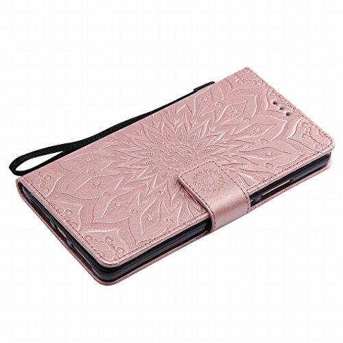 LEMORRY Huawei Ascend Mate8 Hülle Tasche Ledertasche Beutel Haut Schutz Magnetisch SchutzHülle Weich Silikon Cover Schale für Huawei Ascend Mate8, Blühen Rose Gold Rose Gold