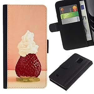 LASTONE PHONE CASE / Lujo Billetera de Cuero Caso del tirón Titular de la tarjeta Flip Carcasa Funda para Samsung Galaxy Note 4 SM-N910 / Fruit Macro Strawberry Whipped