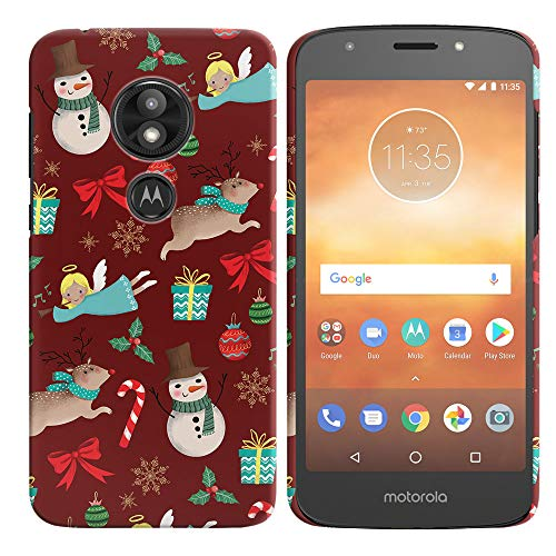 FINCIBO Case Compatible with Motorola Moto E5 Play 5.2 inch (Fingerprint), Back Cover Hard Plastic Protector Case for Moto E5 Play (NOT FIT E5 Plus) - Christmas Pattern Reindeer Angel Snowman Red for $<!--$3.99-->