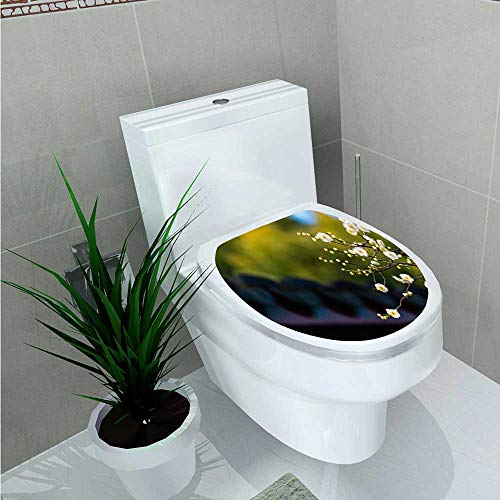 (Waterproof self-Adhesive Guyi Garden Plum Toilet Seat Vinyl Art Stickers W8 x L11)