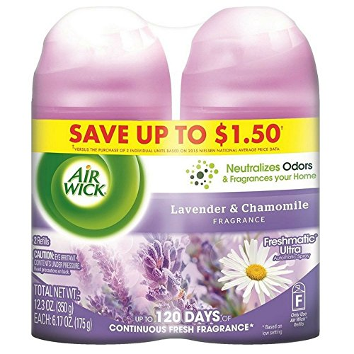 Air Wick Freshmatic Automatic Air Freshener Spray Refill, Lavender & Chamomile, 6.17 oz per Can, 2 ea (Pack Of 12) by Air Wick