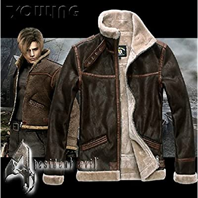Mister Bear Resident Evil 4 Leon KENNEDY'S PU Leather Faux Fur Jackets Cosplay Costume Cosplay Costume: Clothing