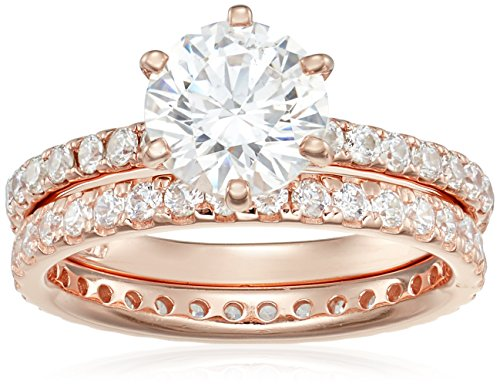 Rose-Gold Plated Sterling Silver Round Ring Set made with Swarovski Zirconia (1 Carat Center Stone), Size - Wedding Collection Gold