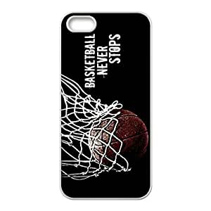 AZA RUBBER SILICONE Case for iPhone 5, Basketball Never Stops Protective RUBBER iPhone Case-Black/White