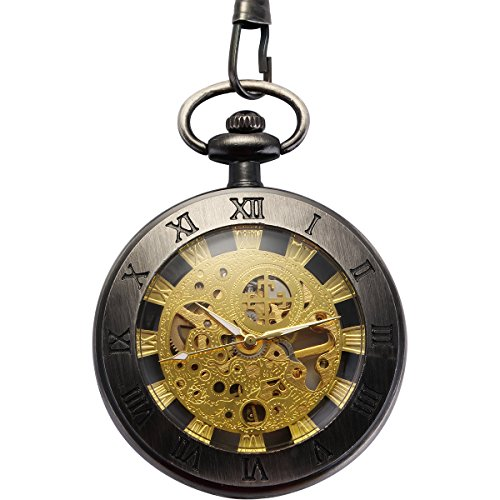 WENSHIDA Antique Mechanical Pocket Watch for Men Women Roman Numerals Skeleton Dial With Chain Box