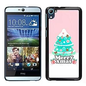 EJOY---Cubierta de la caja de protección para la piel dura ** HTC Desire D826 ** --Árbol de Navidad Rosa de invierno