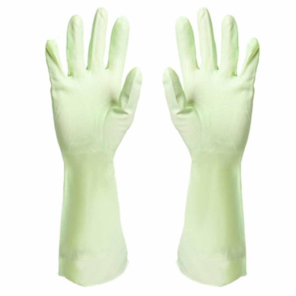 RenShiMinShop PVC soft oil-proof waterproof gloves kitchen durable dirt gloves (Color : Green)