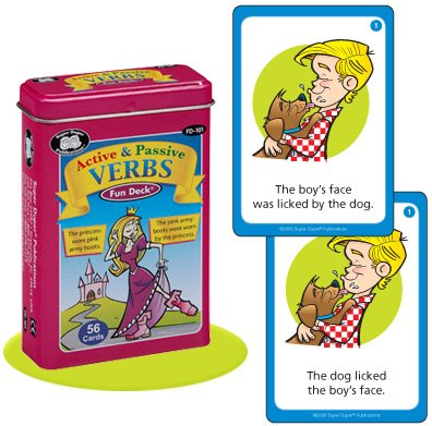 Super Action Card - Active & Passive Verbs Fun Deck Cards - Super Duper Educational Learning Toy for Kids