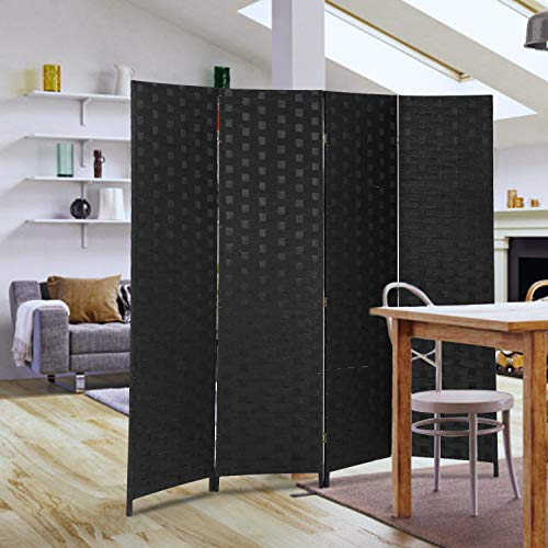 Room Divider Wood Screen 4 Panel Wood Mesh Woven Design Room Screen Divider Folding Portable Partition Screen Screen Wood For Home Office (Folding Separator Room)