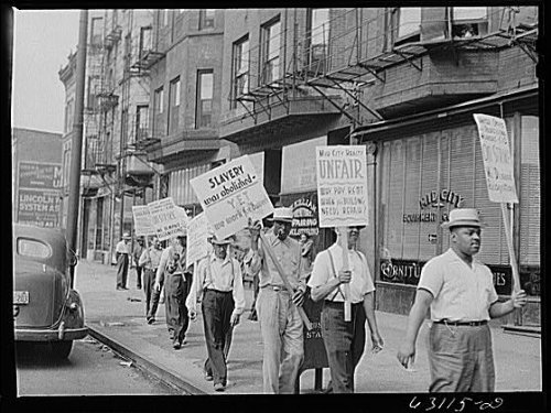 Photo: Picket line in front of Mid-City Realty Company. South Chicago,Illinois 1