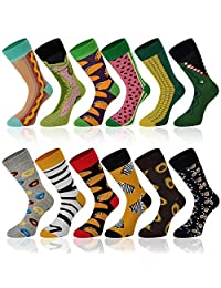Empino Men's Fun Dress Socks – Colorful Funky Patterned Socks – Novelty Casual Cotton Crew Socks