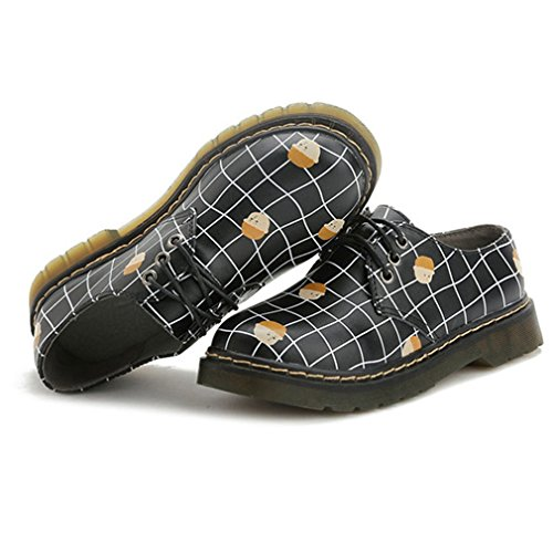 Toes Shoes Vintage Oxford Lace Cartoon Oxford Round Black Hoxekle British Shoes Style Shoes Personality Womens BvPwEq4R