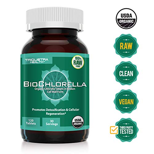 Organic Chlorella: 4 Organic Certifications - Broken Cell Wall Form, Blue Green Algae - Raw, Sun-Grown, Non-Irradiated | Compliments Spirulina (120 Tablets)