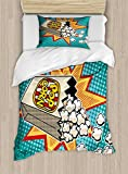 Ambesonne Movie Theater Twin Size Duvet Cover Set, Halftone Background with Retro Style Colorful Popcorn Design Cinema Snacks, Decorative 2 Piece Bedding Set with 1 Pillow Sham, Multicolor