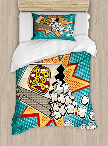 Ambesonne Movie Theater Twin Size Duvet Cover Set, Halftone Background with Retro Style Colorful Popcorn Design Cinema Snacks, Decorative 2 Piece Bedding Set with 1 Pillow Sham, Multicolor by Ambesonne