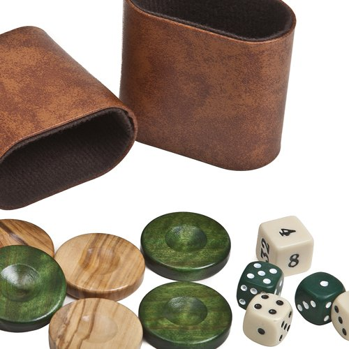 """Nikkos Deluxe Olive Wood Backgammon Checkers from Greece , Dice & Two Dice Cups -Green/Natural Wood 1 7/16"""""""