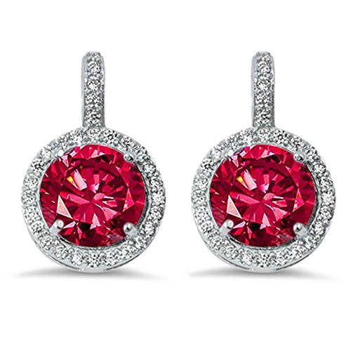 (Sterling Silver Halo Simulated Ruby & Cubic Zirconia)