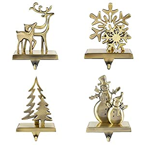 willstar Christmas Stocking Holders for Fireplace Mantle Anti-Slip Reindeer Pine Tree Snowman Snowflake Stand Hanger Sturdy Metal Christmas Decorations